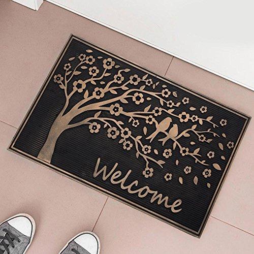 BAKAJI Tappeto Zerbino in Gomma Albero della Vita Figura in Rilievo 75 x 45cm Nero Rame da Ingresso Esterno Casa Giardino