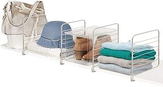 comprar comparacion mDesign Juego de 4 separadores metálicos para organizar armarios y estanterías – Prácticos divisores de estantes y repisas...