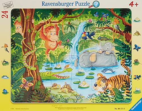 Ravensburger Kinderpuzzle - 06171 Dschungelbewohner - Rahmenpuzzle für Kinder ab 4 Jahren, mit 24 Teilen