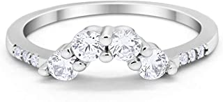 Curved Wedding Band 925 Sterling Silver Band for Ring Choose Color