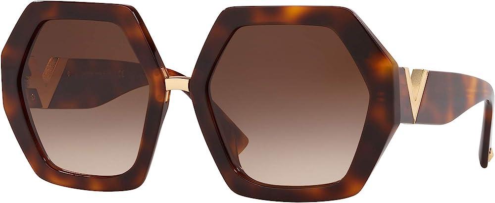 Valentino, occhiali da sole per donna, esagonali, havana/brown shaded RESORT VA 4053AB