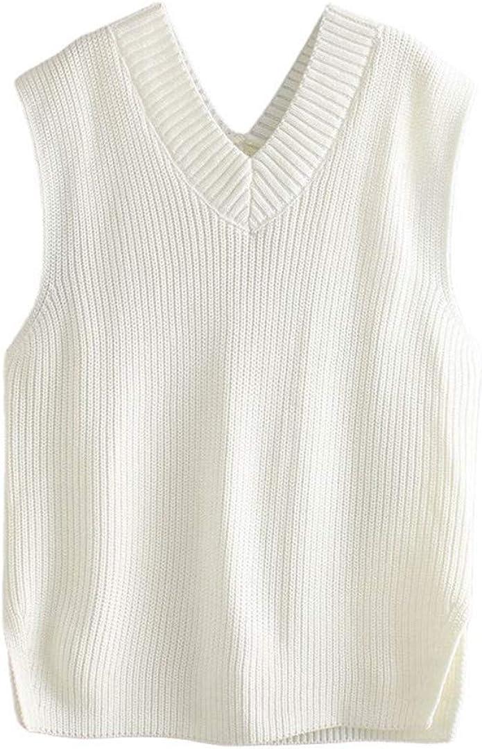 Women White Sweater Vest Fall Sleeveless Pullovers Top V Knit Jumper Waistcoat