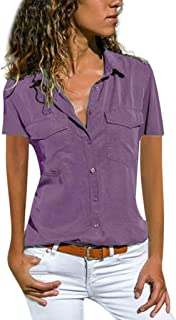 MILIMIEYIK Blouse Women's V Neck Blouse Short Sleeve Button Down Work Shirts Office Casual Tops
