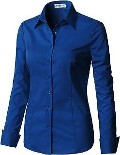 f7b2d00a38 CLOVERY Women s Basic Long Sleeve Slim Fit Button Down Shirt