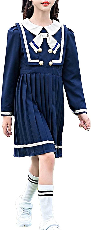 Agoky Kids Girls School Uniform Dress Long Sleeve Bowknot Pleated Dress Students Preppy Style Casual Dress