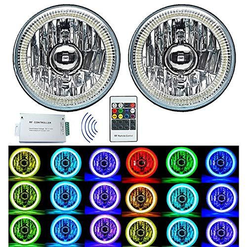 "Octane Lighting 5-3/4"" RGB SMD Multi-Color White Red Blue Green LED Halo Angel Eye Headlights Pair"