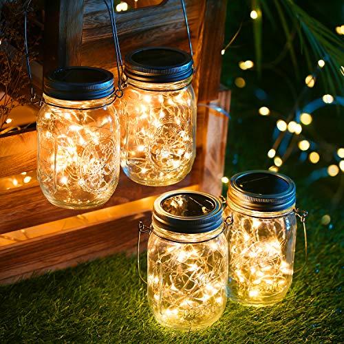 BrizLabs Solarlampen für Garten, 4 Stück 30 LED Solar Laterne Einmachglas Aussen Lampions Lichterkette im Glas Solarleuchten Außen Hängeleuchten für Weihnachten Party Wand Tisch Baum Deko, Warmweiß