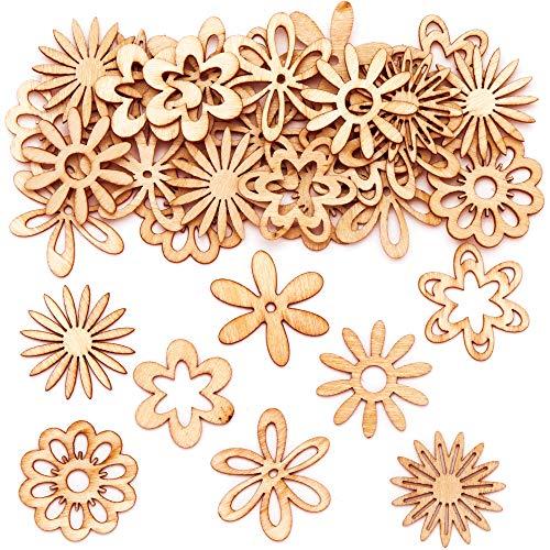 Baker Ross Figuritas de Madera Flores - Actividad de manualidades primaverales infantiles para montar y exhibir (Paquete de 45)