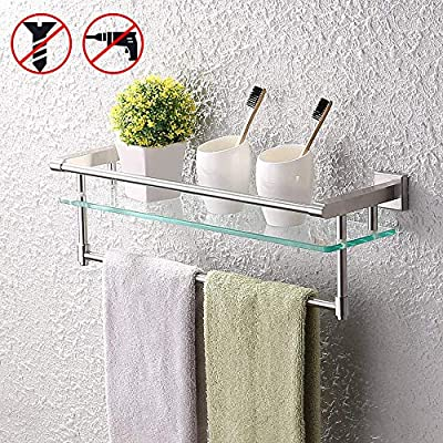 KES SUS304 Stainless Steel Bathroom Glass Shelf with Towel Bar and Rail Brushed Finish Heavy-Duty Rustproof Wall Mount NO Drilling, A2225DG-2