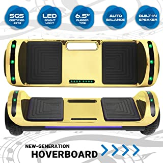 Newest Design Generation Electric Hoverboard Self-Balancing Dual Motors Two Wheels Hoover Board Smart Self Balancing Scooter with Built in Speaker LED Lights for Adults Kids Gift