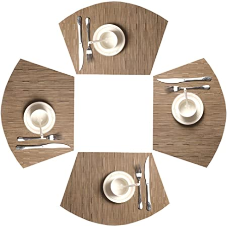 Chevelle trellis Set of 4 cloth placemats round placemats ecru and white cotton