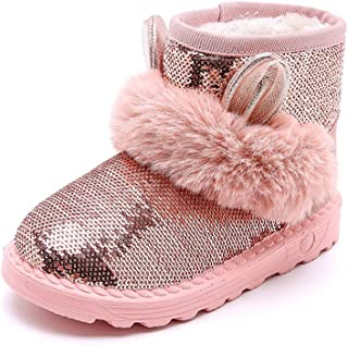 Toddler//Little Kid Aiminila Girls Suede Leather Faux Fur Lined Winter Warm Snow Boots Slip On Shoes