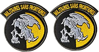 QTao UPA249 Hook & Loop Metal Gear Solid MGS Peace Walker Militaires Sans Frontieresn Tactical Morale Patch Embroidered Appliques 2pcs (Color - 3)