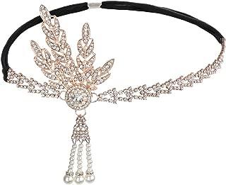 JISEN 1920s Flapper Vintage Leaf Gatsby Crystal Headpiece