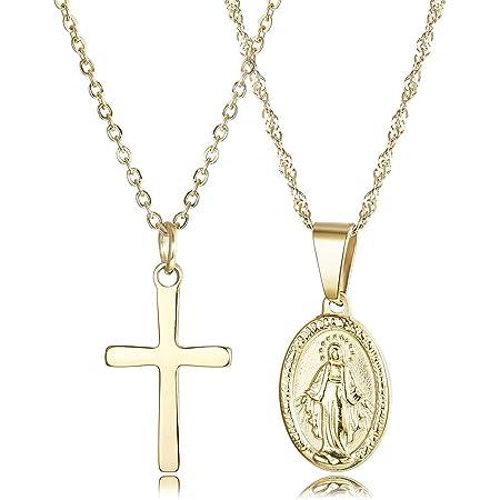 Finrezio 2 Pezzi Collana in Acciaio Inossidabile con Croce e Madonna per Donna Ragazza Cristiano Catena Placcato Oro 18K
