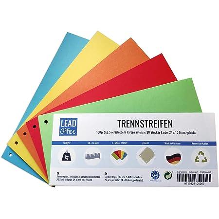 Lot de 100 intercalaires 5 couleurs intenses 20 pièces par couleur 24 x 10,5 cm perforées 180 g/m² pour trier et séparer des documents jusqu'au format A4
