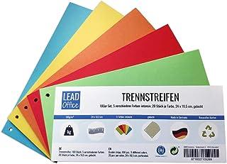 Lot de 100 intercalaires 5 couleurs intenses 20 pièces par couleur 24 x 10,5 cm perforées 180 g/m² pour trier et séparer d...