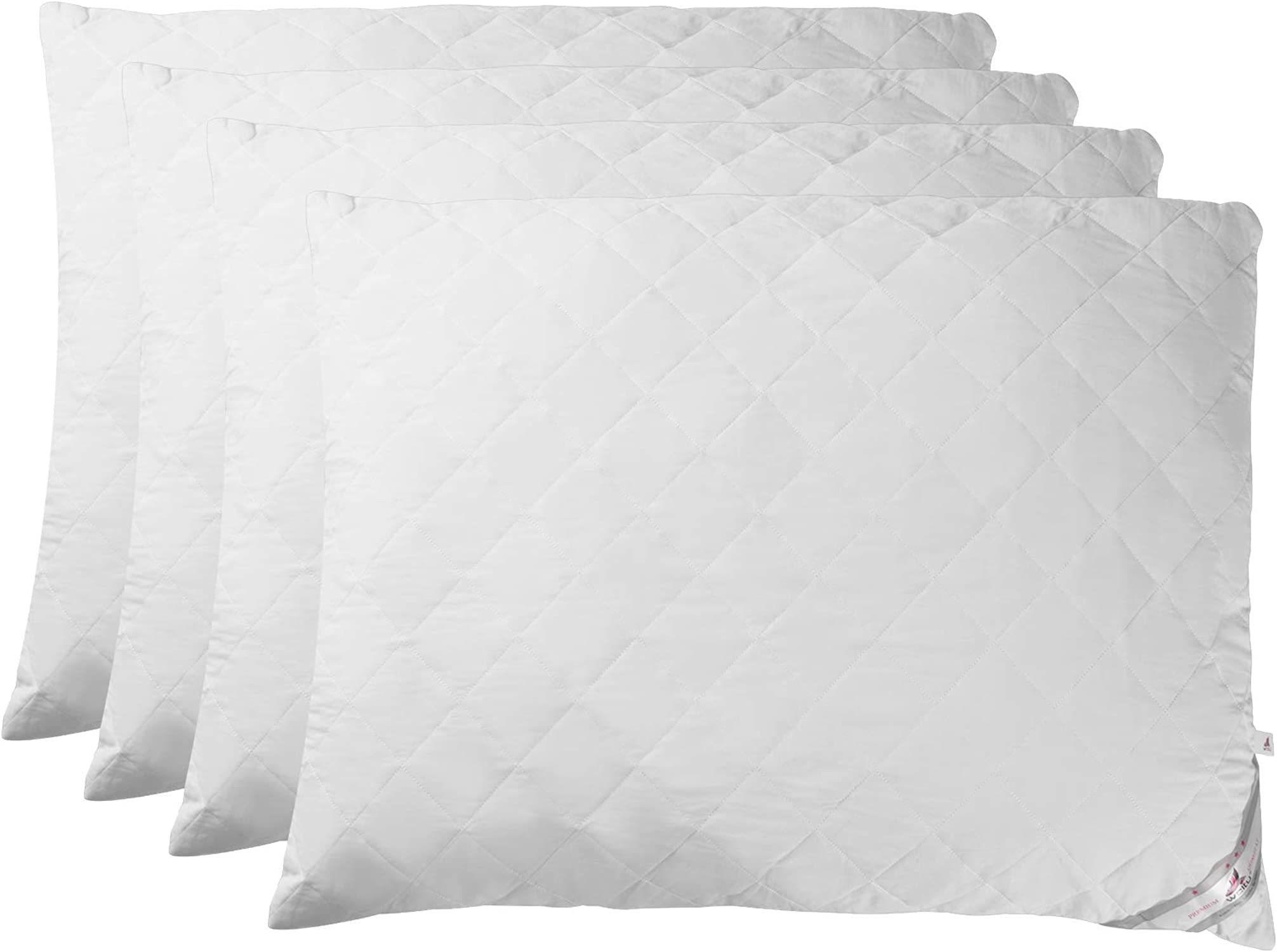 WOLTU KN028wsQ2-2, Lot de 4 Oreillers Remplissage Coussins rembourrés avec Fermeture à glissière, Oreillers intérieurs de Couchage Lavable Respirant et Doux, 70x90 cm