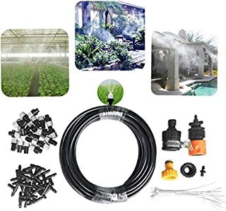 Misting Cooling System 4/6 inch Metal Threaded Adapter 20 Mist Nozzles Drip Watering Kit Summer Mister Cooling for Lawn Outdoor Patio Patior