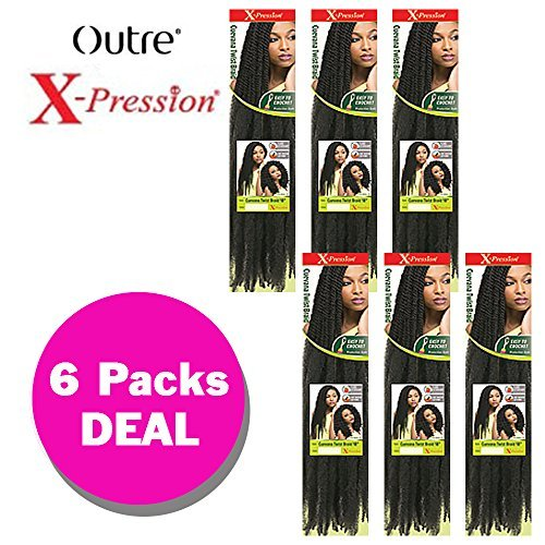CUEVANA TWIST BRAID (6-Pack,1B) - Outre X-Pression Synthetic Crochet Braiding Hair
