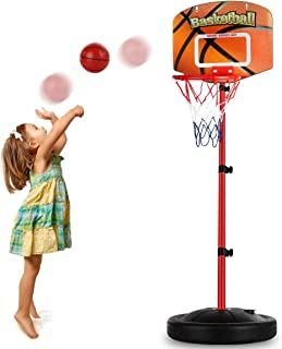 Toddler Basketball Hoop Stand Adjustable Height 2.5 ft -5.1 ft Mini Indoor Basketball Goal Toy with Ball Pump for Baby Kids Boys Girls Outdoor Play Sport Age 2 3 4 5 6 Years Old