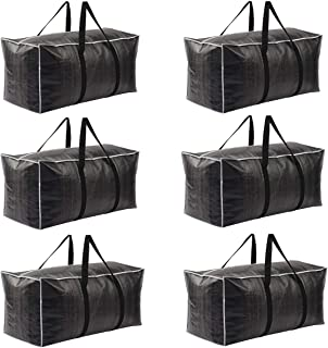 Fouryouths Heavy Duty Extra Large Moving Bag Storage Tote Backpack Carrying Handles & Zipper Alternative to Moving Box for Travelling, College Carrying, Moving, Camping, Clothing Storage (6 Pack)