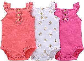 amropi Baby Mädchen Achselbody 3er Pack Ohne Arm Baumwolle Body Sommer Strampler für 0-24 Monate