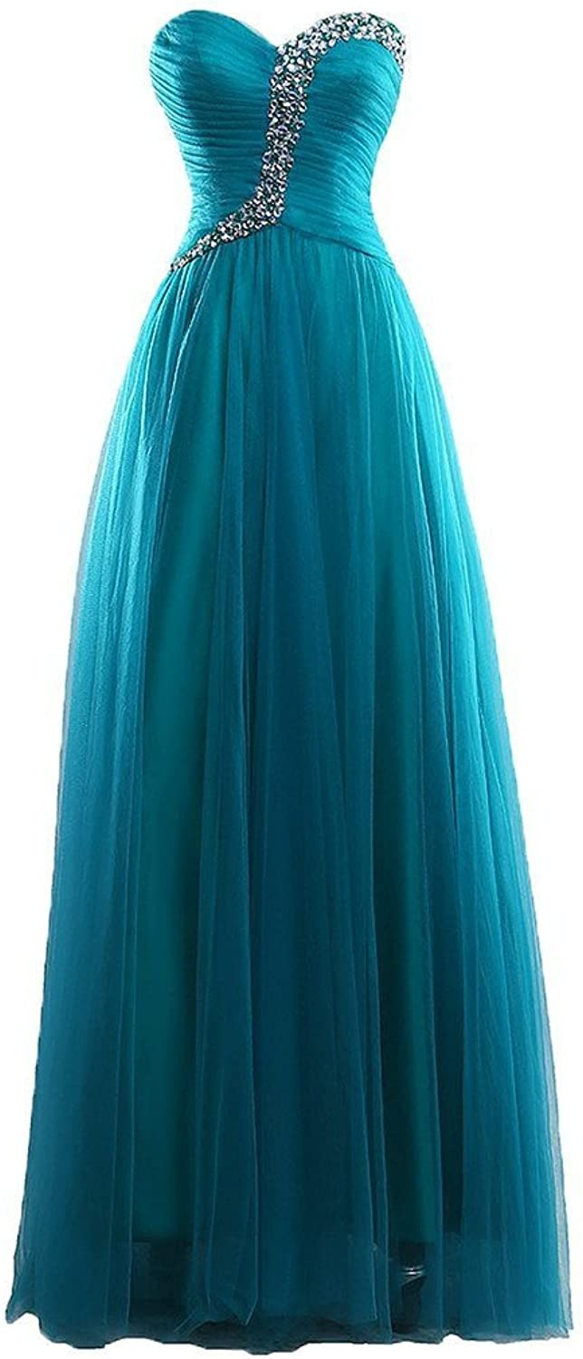 Vimans reg; Long A Line Tulle Gown bluee Sweetheart Cocktail Dresses with Beads