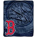 Officially Licensed MLB Boston Red Sox 'Retro' Plush Raschel Throw Blanket, 50' x 60', Multi Color