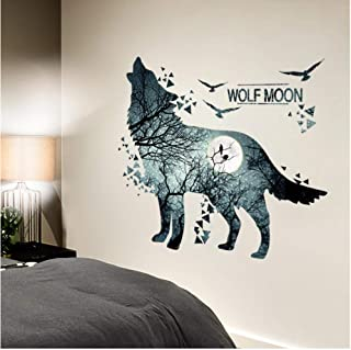 Wangjru Cool Wolf Wall Stickers Diy Animal Mural Decals For House Kids Rooms Baby Bedroom Living Room Decoration