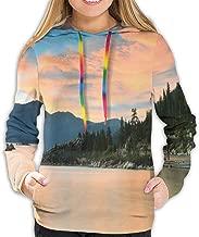 Women's Hoodie,Romantic Sunset at Lake Tahoe Peaceful Shoreline Sierra Nevada United States,Lady Sweatshirt