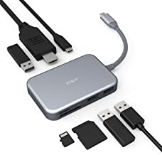 iHaper C003 USB C Hub, 7-in-1 USB C Adapter with 4K HDMI, 60W Type-C Power Delivery, 3 USB 3.0, SD and Micro SD Card Reader for MacBook Pro 2018/2017/2016, Chromebook Pixel, Dell XPS, and More