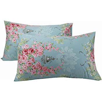 20 x 30 Inches YIH Pink Queen Size Floral Cotton Pillowcase for Girl Ultra Soft Hypoallergenic Envelope Closure End