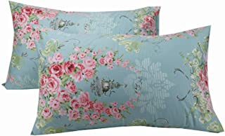 YIH Floral Pillowcase Covers Decorative Blue, 600 Thread Count 100% Cotton Standard Luxury Bedding Pillow Covers, 20 x 30 ...