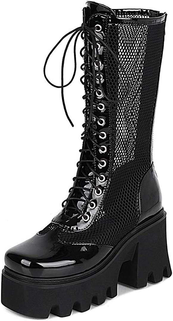 Mid Calf Boots Chunky High Heel Fishnet Boot Summer Riding Booties Lace Up Shoes