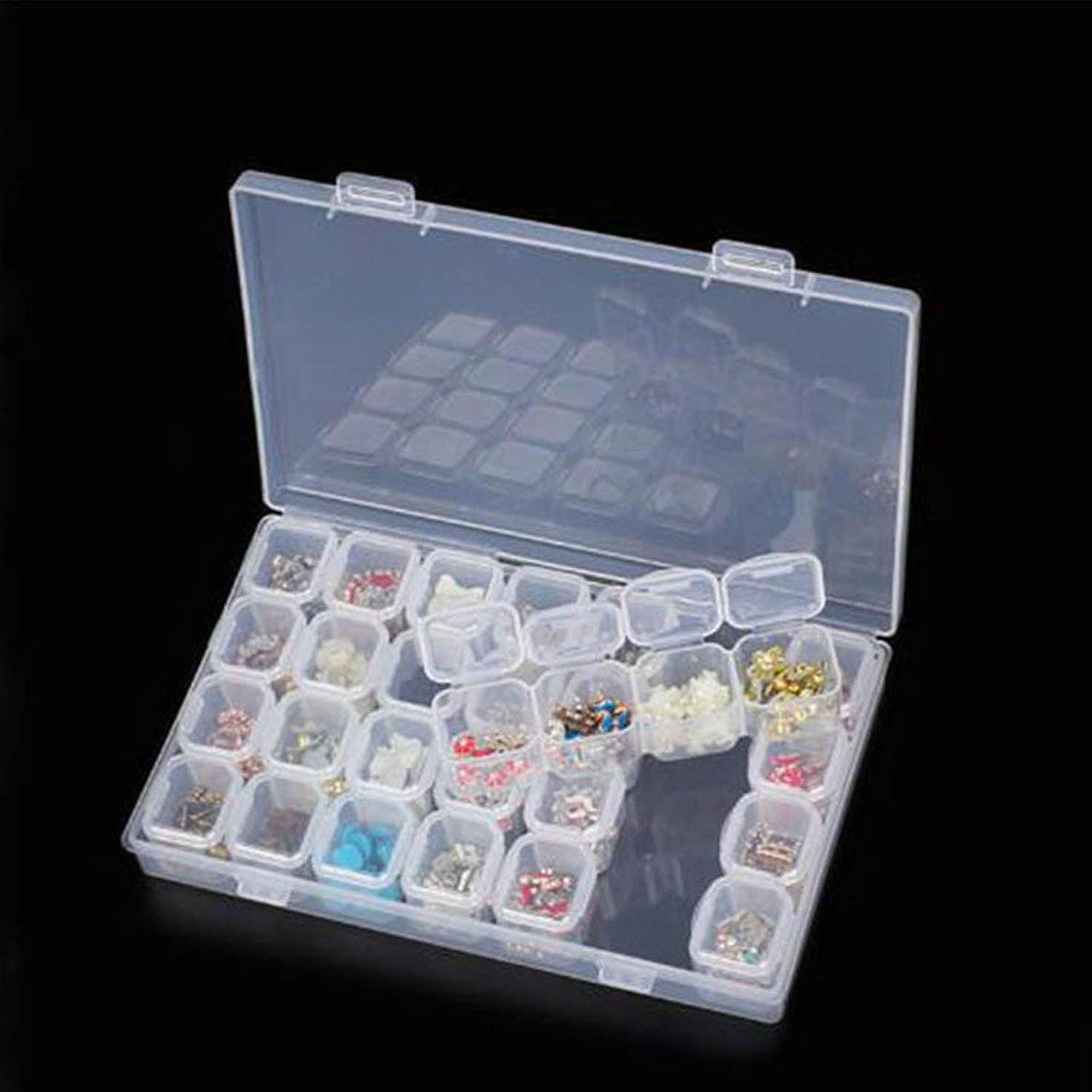 脈拍リンス打倒28スロットプラスチック収納ボックスボックスダイヤモンド塗装キットネールアートラインツールズ収納収納ボックスケースオーガナイザーホルダー(透明)