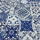 Kt KILOtela Tela de loneta Estampada - Retal de 100 cm Largo x 280 cm Ancho | Azulejos - Azul ─ 1 Metro