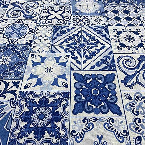 Kt KILOtela Tela de loneta Estampada - Retal de 300 cm Largo x 280 cm Ancho   Azulejos - Azul ─ 3 Metros