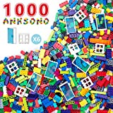 Anksono Building Bricks 1000 Pieces Set, 1000 Pcs Kids Classic Building Blocks in 11 Colors and 6Pcs Windows and Doors Compatible with All Major Brands for Ages 3 4 5 6 7 8 9 10 Year Old Boys & Girls