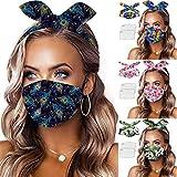 Sonnena 1PC+2 Filtros Protección Desechable Respirable,Mujer Animales Dibujos Diseños de Tela Mejillas de Doble Capas