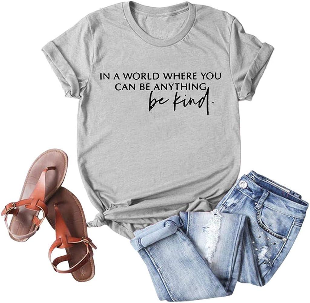 FABIURT Women Casual Crewneck Short Sleeve Shirts Fashion Letter Print Tops Blouse Graphic Tee Shirt for Teen Girls