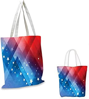 "4th of July royal shopping bag Independence Day Themed Abstract Diamond Rhombus with Star Liberty Freedom sloth shopping bag Red White Blue. 16""x18""-13"""