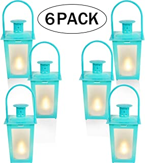 Mini Lantern,Small Candle Lanterns Decorative,Battery Included,Vintage Hanging Lantern with Flickering LED for Halloween,Christmas,Wedding,Table Centerpiece, Accent Piece & Party Favor, 6 Sets (blue)