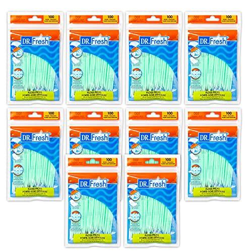 10 pk (100 ct each) Soft Bristle Dental Floss Picks, Interdental Brush, Toothpicks, Flexible Deep Clean