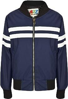Kids Boys Girls Jacket Contrast Striped Navy PU Bomber Varsity School Biker Coat