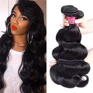 Geoyern Brazilian Weave Virgin Hair Body Wave Weft 4 Bundles 100% Unprocessed Human Hair Extensions Natural Color (16 18 20 22)