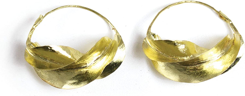 Large Fula Gold Twist Earrings - 1½
