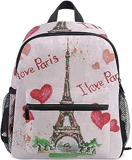 Love In Paris Red Heart Eiffel Tower School Backpack for Girls Kids Kindergarten School Bags Child Bookbag