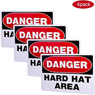4-Pack Danger Hard Hat Area Sign,Danger Dinosaur Area Keep Out Sign,14x10 inch Rust Free Thick 0.4mm Aluminum, UV Printed, Easy to Mount Weather Resistant Long Lasting Ink for Fence
