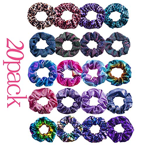 Hair Scrunchies Elastic Ponytail Holder-20 Pcs Elastic Hair Bands Leopard Print Hair Ties,Fish Scale Hair Bands,Shiny Metallic Scrunchies,Mermaid Ponytail Holder for Women or Girls,20 Assorted Colors